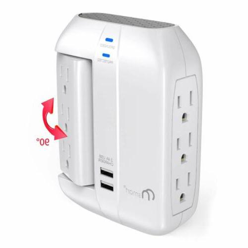 ON Smart Swivel Surge Strip Power Outlets+2 Ports