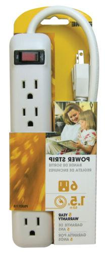 Prime Pb801118 6 Outlet White Power Strip With 1-1/2' Cord,N