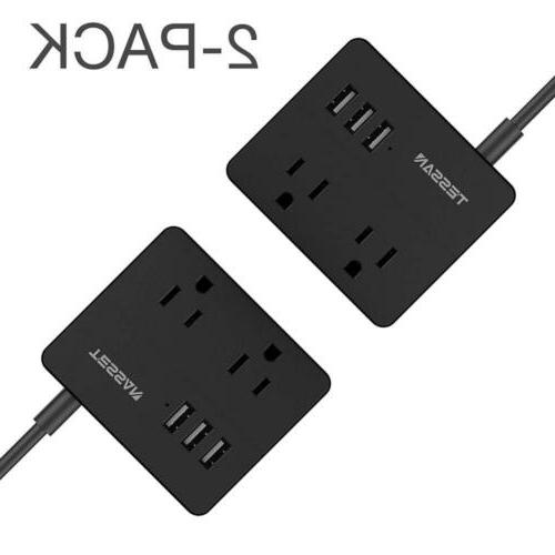 TESSAN Portable 2 Outlet Travel Power Strip with 3 USB Ports