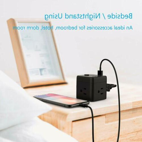 Small Portable Strip USB Ports,3 Outlets, 5 ft