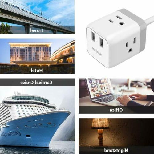 Portable Desktop Cube Strip 3 Ports ,for and Travel