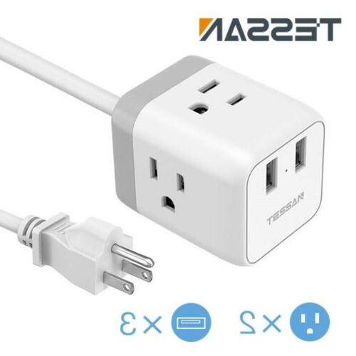 Portable Desktop Cube Strip with Ports ,for Home and Travel