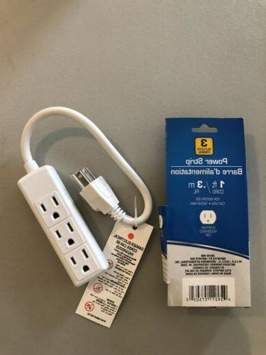 Power Strip 1ft Cord Heavy Prong Multi Electric Plug