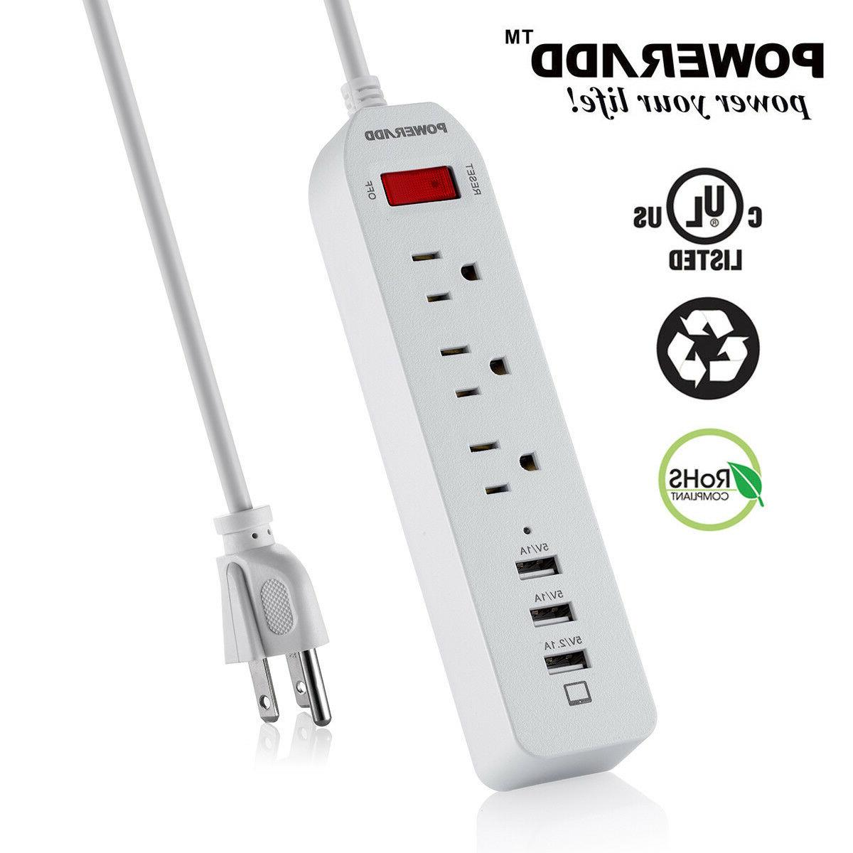 3-Port Outlet Power Strip 3 USB Charging Ports Surge Protect