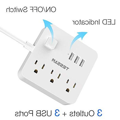 Power Strip 3 Outlet, Charging Cord Accessories Dorm Power White