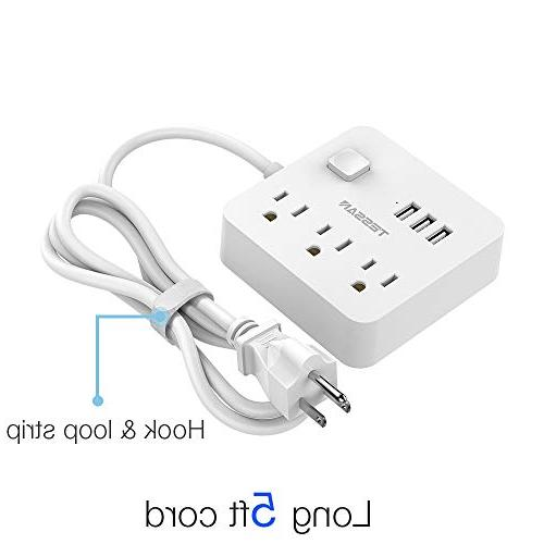 Power 3 Station 5 Extension Cord Cruise Dorm Power White