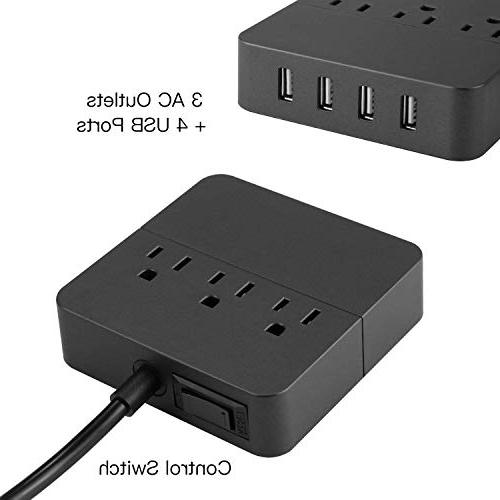 Power Strip USB, Surge Outlet Port 5ft Extension 100-240V USB Strip for Travel, Phone, Computer, Transformers