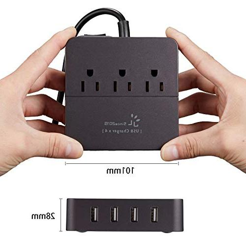 Power with Surge 3 Outlet and 4 Port Charger with 5ft Extension Power Cord 100-240V for Travel, Transformers