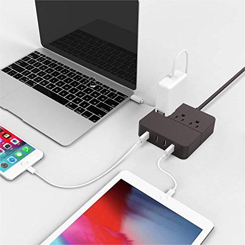 Power Strip with USB, Surge 3 Outlet 4 USB Port Charger Extension Power 1250W 100-240V Portable for Travel, Phone, Transformers