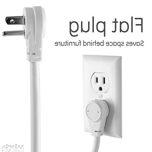 GE Power Surge Protector Outlets ft Long Extension Cord, Flat