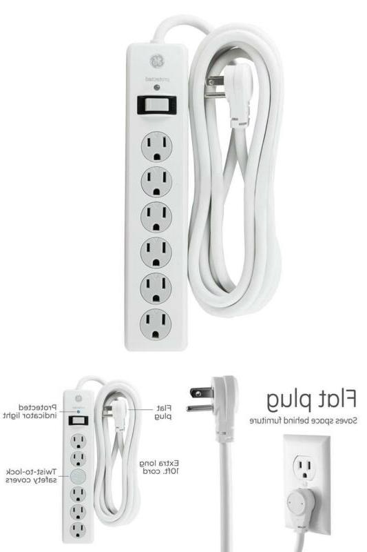 GE Power Strip Surge Protector 6 Outlets 10ft Extra Long Pow