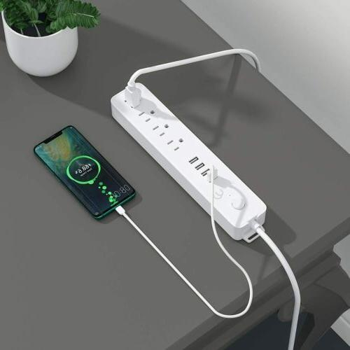 Power Strip Surge 4 Outlets 4 Charging Ports & Extension
