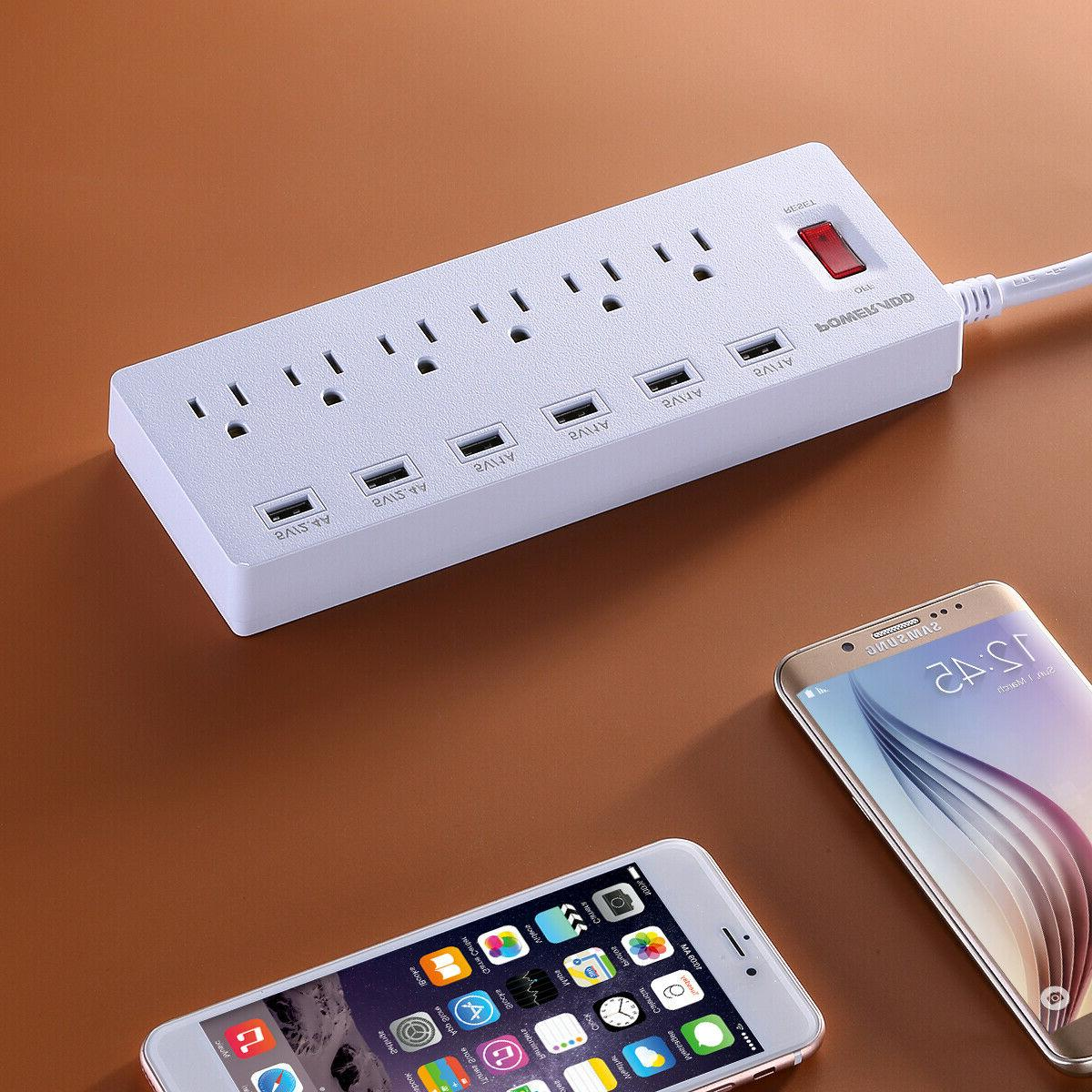 Power Strip 6 Outlets 6 USB Charging Extension Cord