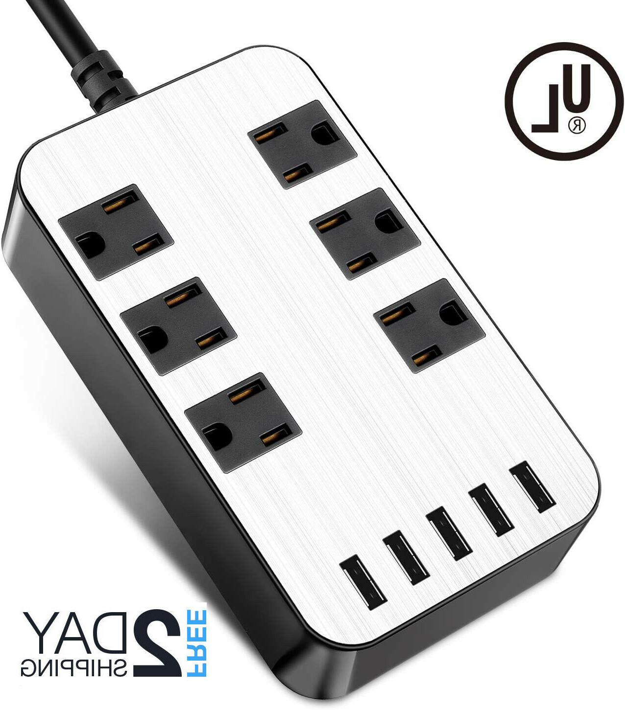 power strip surge protector 6 outlets usb