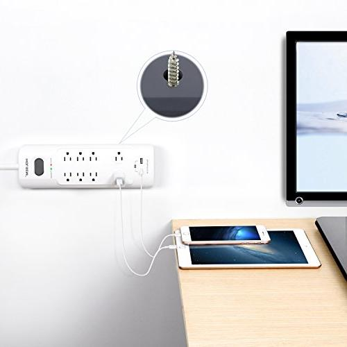 HOLSEM Power Strip Protector 8 Outlets 2 Ports , Duty Extension Outlet for Office ,White