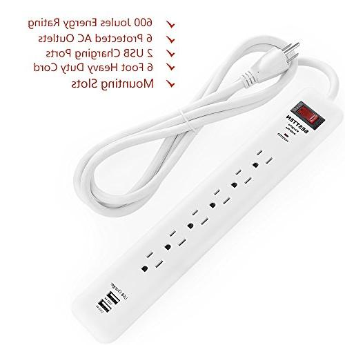 BESTTEN Power Protector 2 USB Charging and Electrical Outlets, Long ETL 12 Warranty