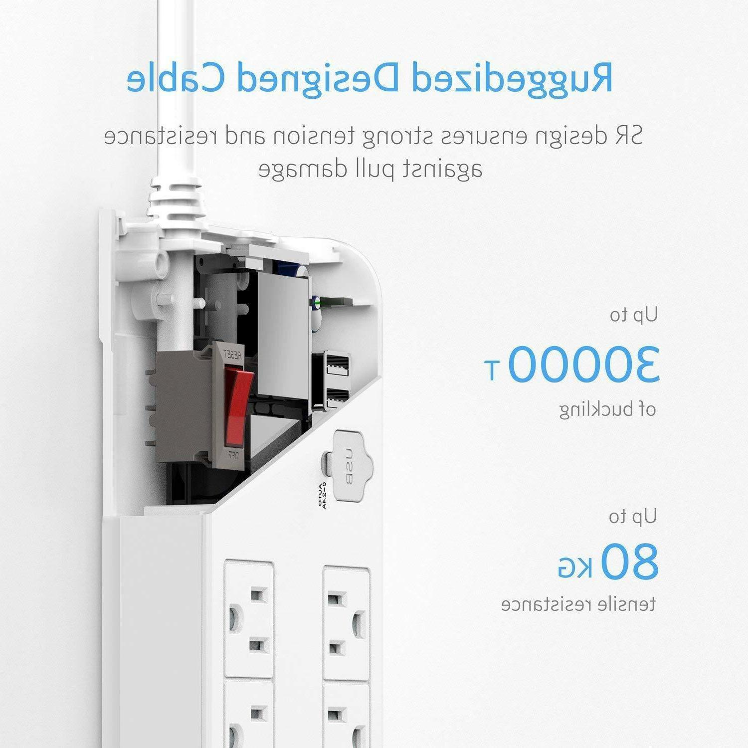 BESTEK Strip Surge Protector Multi Outlet
