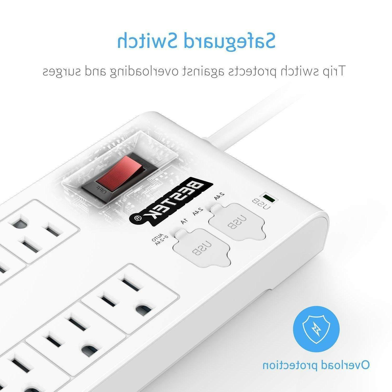 BESTEK Power Surge Protector USB Multi Plug Outlet ETL