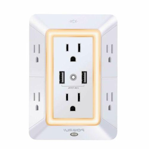power strip surge protector wall usb charger