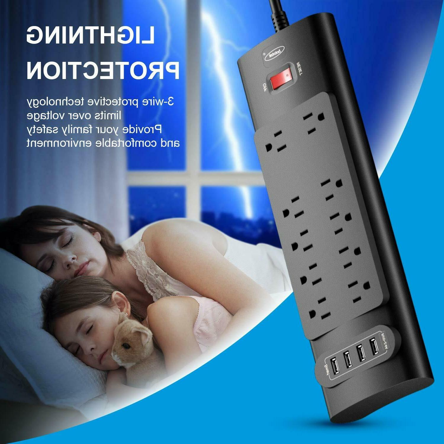 Power Strip, Bototek Protector with Outlets and Charging