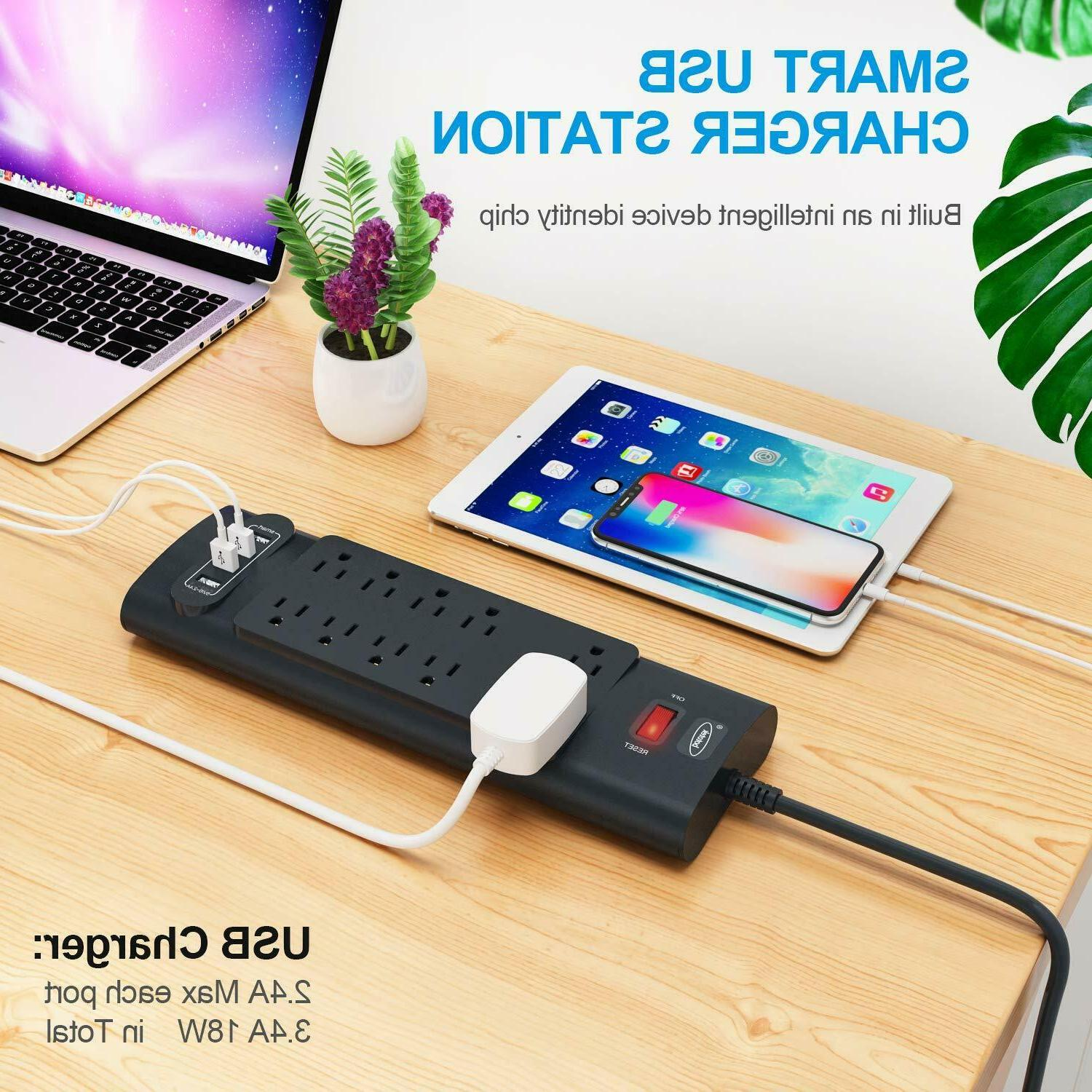 Power Surge Protector Outlets and 4 Charging Ports
