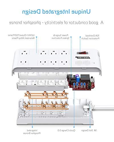 Quick 3.0 Power Strip BESTEK Multi-Outlet 4 Charging 6-Foot Power Cords, Right Angle Flat Plug, 900 FCC