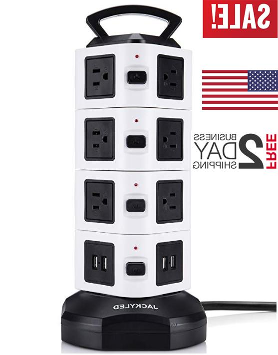 power strip tower 14 outlet plugs 4
