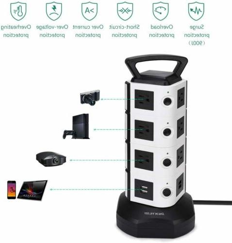 Power Strip Tower Outlets 4 Surge Protector Charging Station