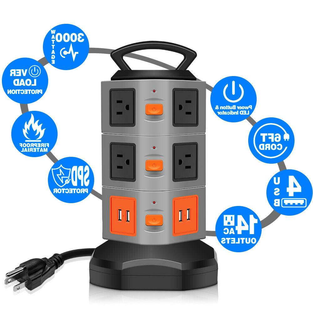 Power Tower Surge Overload Protector, Plug Extender Extension Cord