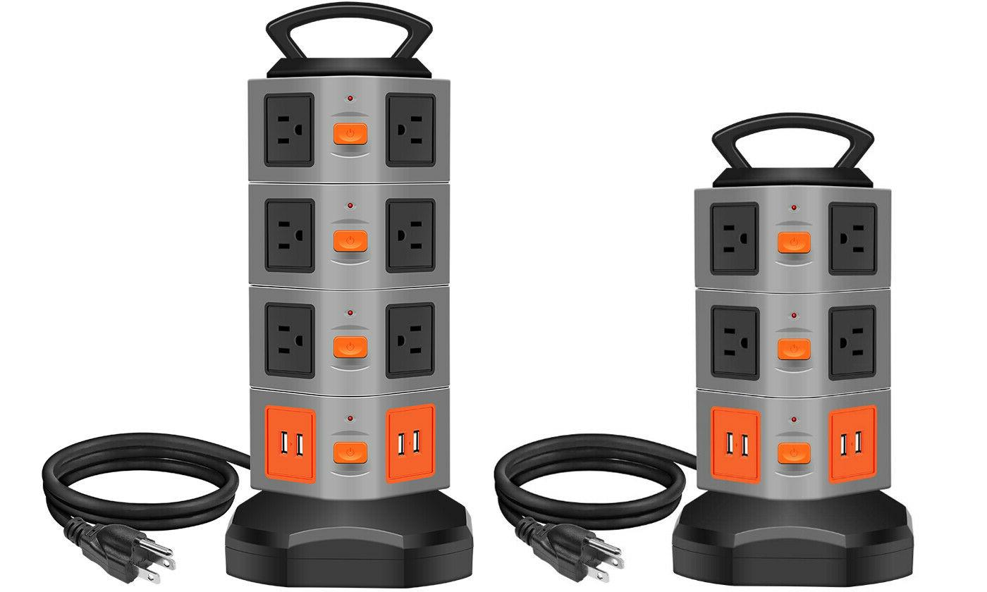 power strip tower surge overload protector multi