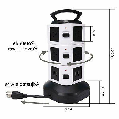 Power Strip JACKYLED Surge Protector Charging 3000W 13A Outlet