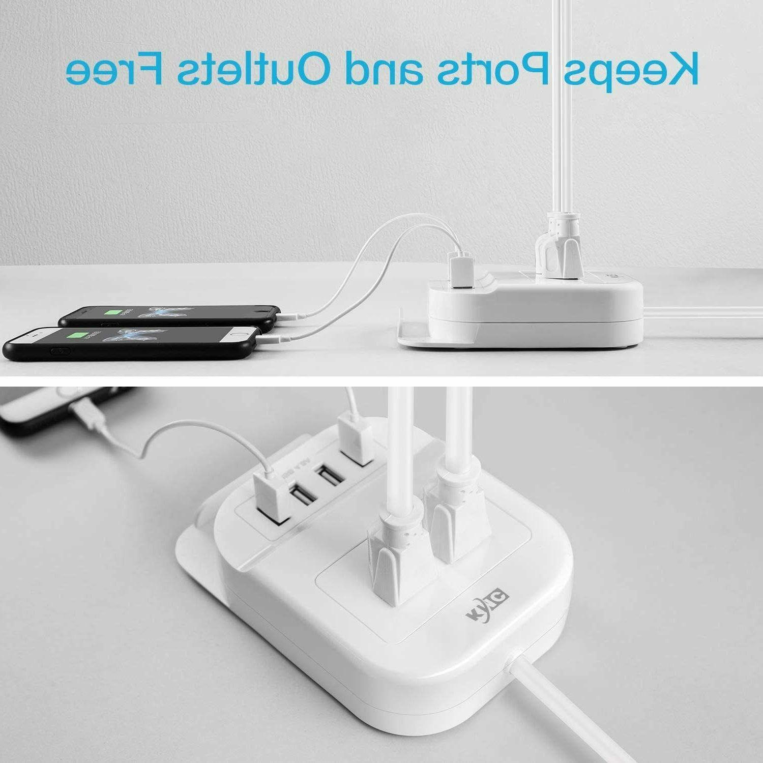 Power with USB and 5ft Extension Cord Desktop Charger