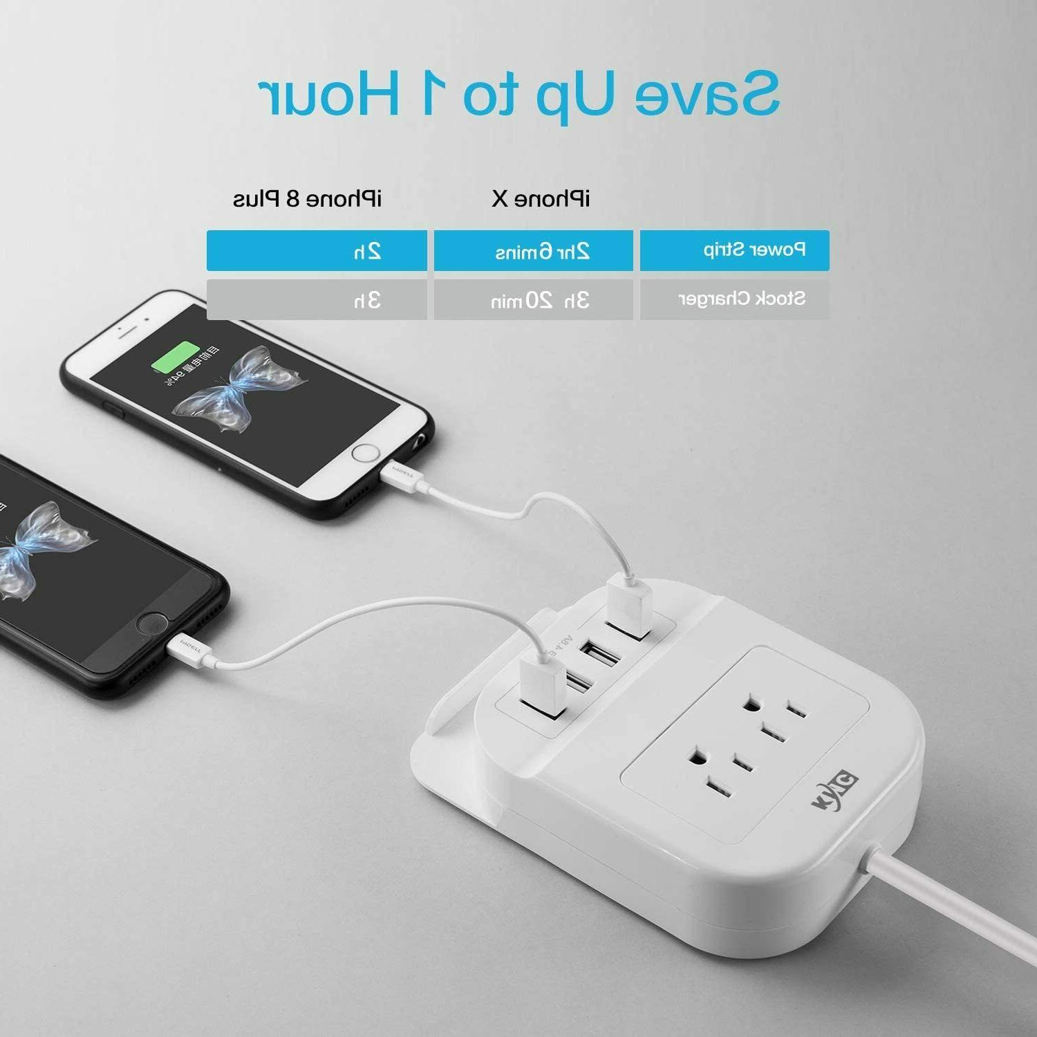 USB Ports, 2 Outlets and Extension Cord Desktop Charger
