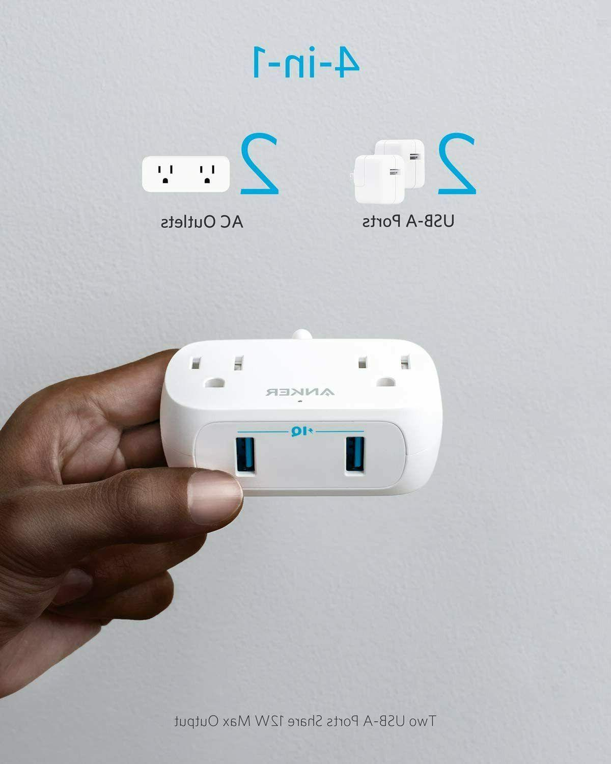 USB PowerExtend Outlets and 2 USB Flat 5ft