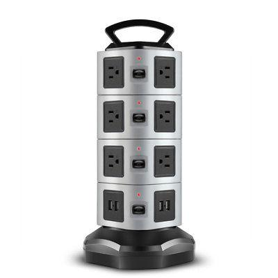 Power Strip with USB Surge Protector 14 Outlet 4 USB Port Ch