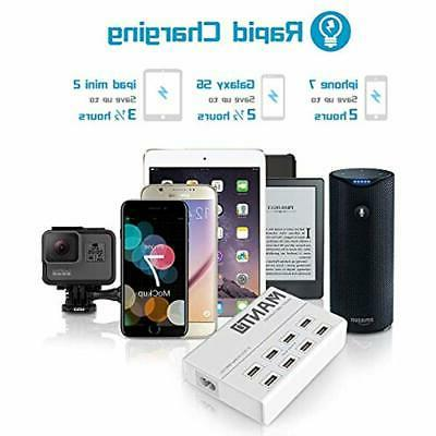 Power USB Charger Station 50W 8-Port Cell Phone 4ft