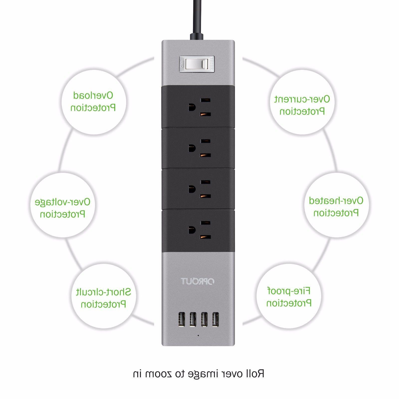 OPROUT PowerSolid 4-Outlet Power Strip with 4 USB Charging P