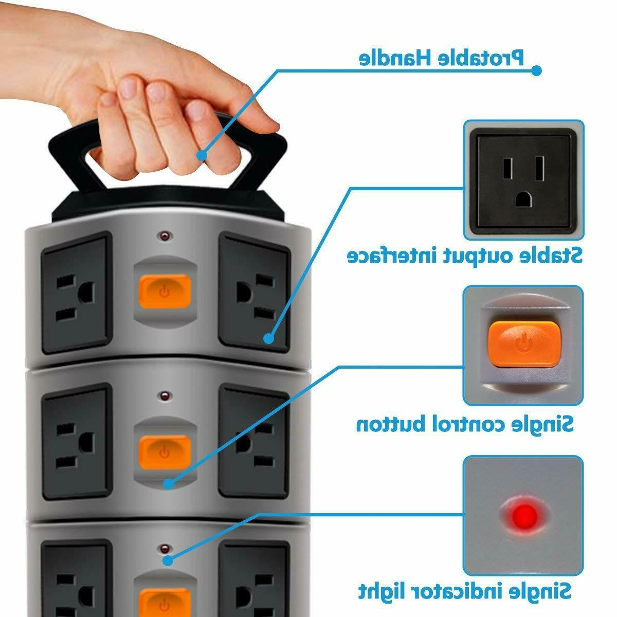 PowerStrip Tower Protector Electric Station 14 Outlet Plugs 4 USB