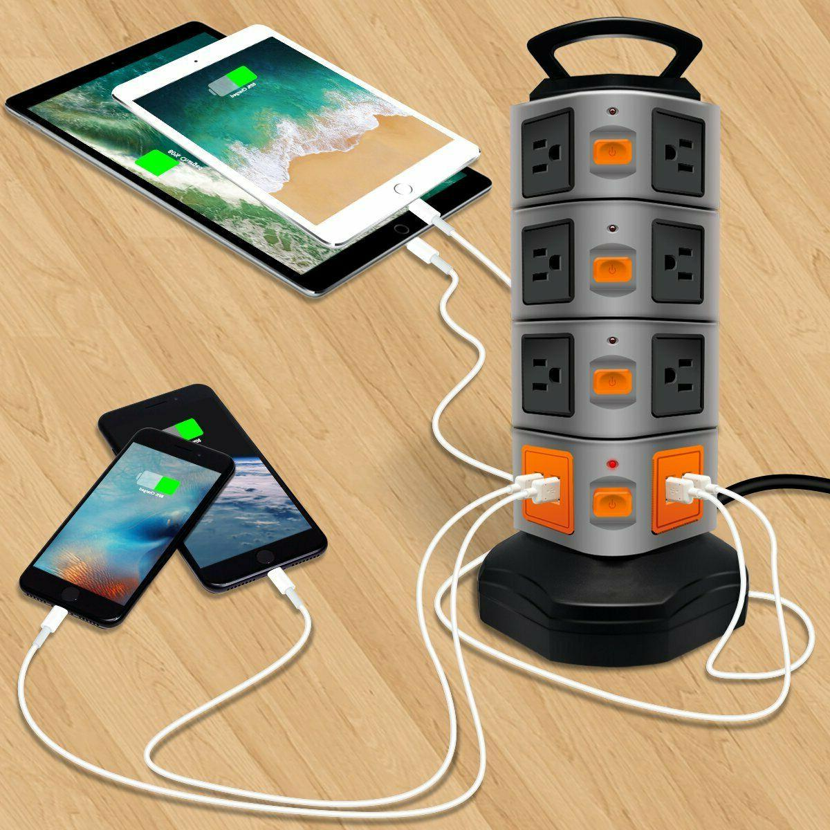PowerStrip Surge Protector Electric Charging Station Outlet Plugs