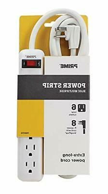 Prime Wire 6-Outlet Power Strip with 8' Cord, White