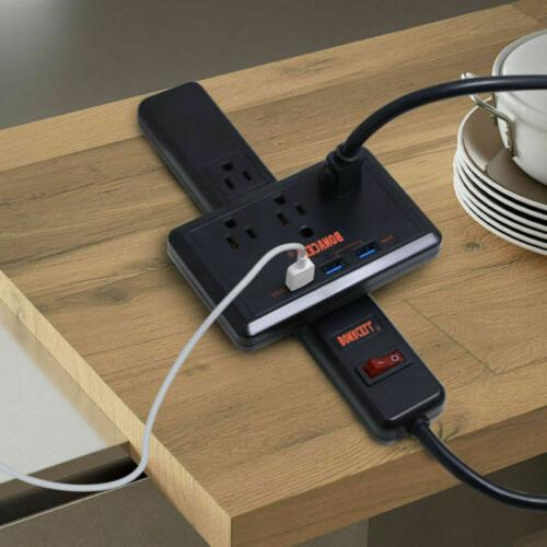 With wall Charge Strip 3 Power Port