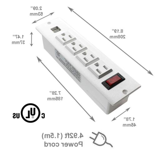Recessed Power Strip with Outlets USB with Screws