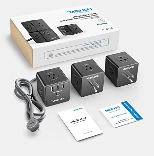 HOLSEM Power Cube Protector 14 3 Smart USB Ports and 6' Extension