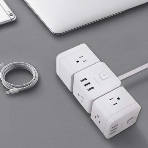USB Charger Strip Surge Charger 3-Ports USB