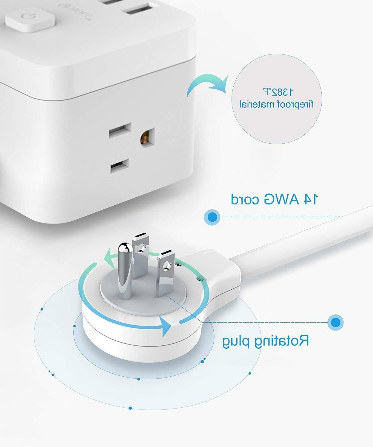 BULL Power Strip Surge Protector Wall Charger USB