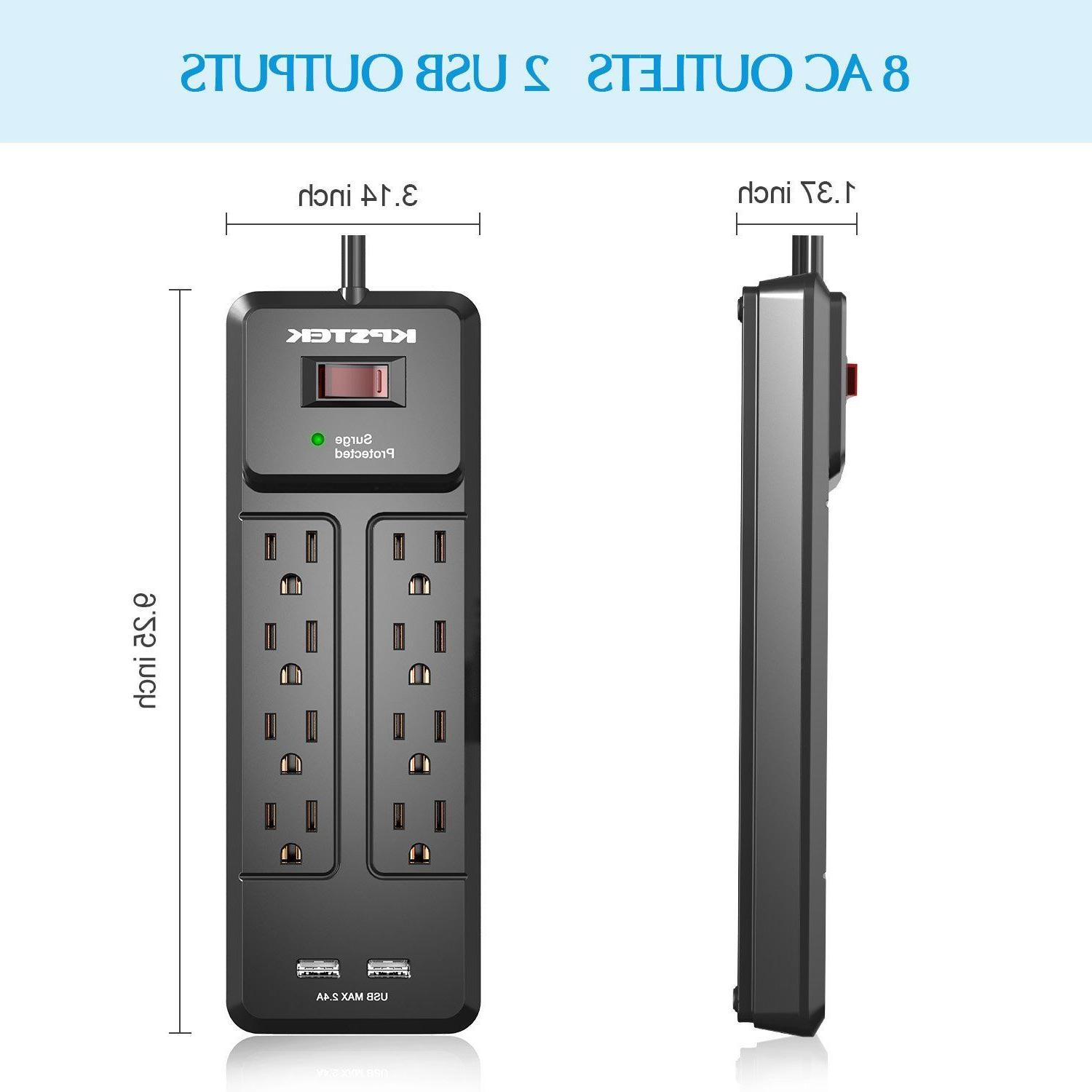 surge protector power strip 8 outlets wall
