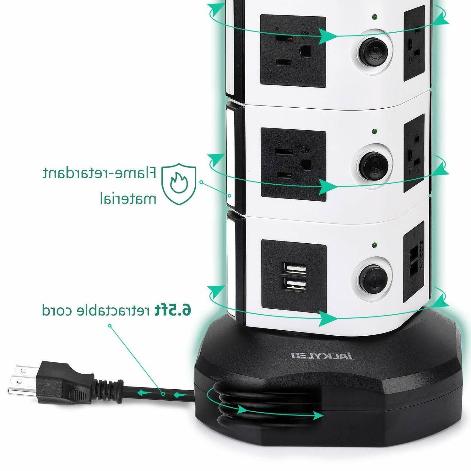 Power Strip Tower JACKYLED Surge Protector Charging