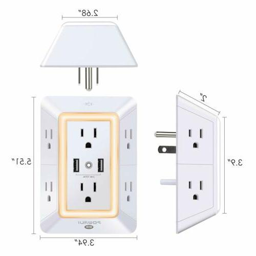POWRUI Protector Charger with Adapter Night Light