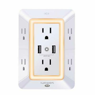 surge protector usb wall charger 6 outlet