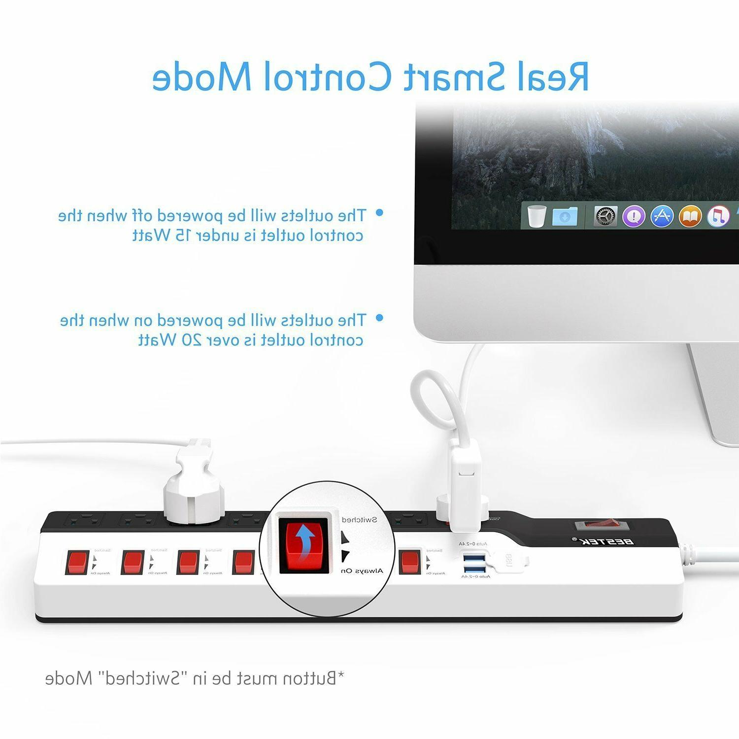 BESTEK Protector 8-Outlet and 2 USB Charging